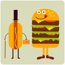 Hamburger,Hot Dog,Hungry,Meat,Cartoon,Fast Food,Ilustration,Sticking Out Tongue,Sausage,Humor,Beef,Lace,Cheerful,Cheese,Vitamin Pill,Characters,Lettuce,Leather,Mustard,Fun,Vector,Cane,Shoe,Briefcase,Vector Cartoons,Yellow,Staring,Take Out Food,Brown,Concepts And Ideas,Sesame,Top Hat,Junk Food/Fast Food,Illustrations And Vector Art,Food And Drink,Modern,Character Traits,Green Color,Unhealthy Eating,Bun,Happiness
