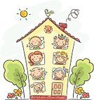 House,Family,Cartoon,Child,Drawing - Art Product,Happiness,Dog,Cute,Domestic Cat,Senior Adult,Domestic Life,Grandparent,Mother,Little Girls,Sketch,Child's Drawing,Father,Pets,Characters,Springtime,Indoors,Summer,Little Boys,Real Estate,Adult,Puppy,Parent,Daughter,Young Adult,Son