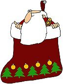 Christmas,Christmas Stocking,Cartoon,Ilustration,Holidays And Celebrations,Bell,Christmas,Male,Men,Santa Claus,Beard