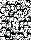Group Of People,Human Face,People,Child,Audience,Men,Drawing - Art Product,Human Hair,Women,Young Adult,Ilustration,Backgrounds,Spectator,Fan,Human Mouth,Human Eye,Senior Adult,Incomplete,Black Color,Sunglasses,Variation,White Background