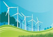 Landscape,Turbine,Environmental Conservation,Wind Turbine,Environment,Wind,Solar Energy,Global Warming,Technology,Electricity,Sun,Wind Power,Alternative Energy,Wave Pattern,Nature,Fuel and Power Generation,Grass,Technology,Industry,Industrial Objects/Equipment,Objects/Equipment,Tree