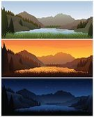 Mountain,Lake,Night,Sunset,Day,Landscape,Sunrise - Dawn,Nature,Sun,Sky,Star - Space,Morning,Tree,Sunbeam,Midday,Backgrounds,12 O'Clock,Vector,Dusk,Grass,Scenics,Time,Panoramic,Outdoors,Hill,Summer,Cloud - Sky,Horizon Over Water,Cloudscape,Tranquil Scene,Horizon Over Land,Set,Weather,Wide,Summer,Landscapes,Nature,Dark,Twenty-four Hours,Illustrations And Vector Art,Midnight,Land,Vibrant Color,Horizontal,Vector Cartoons