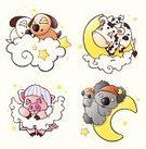 Cartoon,Animal,Sleeping,Child,Cute,Cow,Koala,Moon,Star - Space,Dog,Dreamlike,Humor,Pig,Young Animal,Bed,Pajamas,Cloud - Sky,Crib,Bedtime,Night,Laziness,Cotton Plant,Puppy,Yawning,Animal Egg,Stuffed Toy,Softness,Napping,Imagination,Vector Cartoons,Baby Animals,Sky,Animals And Pets,Illustrations And Vector Art