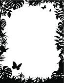 Tropical Rainforest,Silhouette,Frame,Rainforest,Tropical Climate,Vector,Leaf,Butterfly - Insect,Forest,Plant,foliagé,Black And White,Bush,Black Color,Ilustration,Tropical Bush,Design Element,Tropical Tree,Tropical Flower,Backgrounds,Lush Foliage,No People,Clip Art,Tropical Frame,Illustrations And Vector Art,Nature Backgrounds,Insects,Border Design,Animals And Pets,Tropical Border,Nature,Jungle Border,Design,tropical leaves,Copy Space