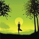 Yoga,Healthy Lifestyle,Pilates,Nature,Women,Meditating,Zen-like,Silhouette,Tree,Vector,Exercising,Landscape,Female,Serene People,Relaxation Exercise,Tranquil Scene,Contemplation,Sunset,Flexibility,Grass,Sky,Dusk,People,Illustrations And Vector Art