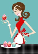 Cupcake,Women,Cake,Baking,Teenage Girls,Baker,Apron,Domestic Kitchen,Vector,Food,Ilustration,Cute,Red,Brown Hair,Cheerful,Happiness,Polka Dot,Icing,Hobbies,Tablecloth,vector illustration,Illustrations And Vector Art,Food And Drink