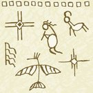 Cave Painting,North American Tribal Culture,Symbol,Hieroglyphics,Indigenous Culture,Eagle - Bird,Deer,Music,Kokopelli,Pattern,The Past,Vector,Flute,Sun,Design,Animals And Pets,Nature Symbols/Metaphors,Nature,Bird,Star Shape,Painted Image,Ilustration,Color Image,Carving - Craft Product,Dancing