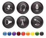 Microphone,Speaker,Radio,Headphones,Computer Icon,Digitally Generated Image,Symbol,Music,Sound,Megaphone,Icon Set,Sound Wave,Orange Color,Interface Icons,Blue,Technology,Black Color,No People,Vector,Ilustration,Modern,Communications Tower,Red,Circle,Round Button,Audio Equipment,Yellow,Isolated On White,Wave Pattern,White Background,Design,Green Color,Empty,MP3 Player,music player
