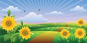 Sunflower,Nature,Landscape,Grass,Flower,Vector,Ilustration,Sky,Sunbeam,Design,Image,Summer,Yellow,Cloudscape,Creativity,Color Gradient,Gold Colored,Landscapes,Nature,Vector Backgrounds,Leaf,Petal,Illustrations And Vector Art,Sunlight,Orange Color,Plant,Colors,Vibrant Color,Design Element