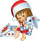 Love,Happiness,Gift,Toy,Celebration Event,Stuffed Toy,Affectionate,Curly Hair,Smiling,Offspring,Daughter,Red,Rabbit - Animal,Childhood,Baby,Child,Poinsettia,Cute,Color Image,Santa Hat,Illustration,Females,Girls,Baby Girls,Vector,Single Flower,Plush Rabbit