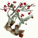 Japan,Watercolor Painting,Tree,Flower,Blossom,Single Flower,Isolated,Japanese Culture,Drawing - Art Product,East Asian Culture,Ilustration,Plum Blossom,Cherry Blossom,Paint,Sketch,Summer,Drawing - Activity,Image,Springtime,Colors,Plant,Branch,Purple,Nature,Pink Color