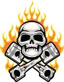 Human Skull,Skull and Crossbones,Flame,Piston,Hot Rod,Motorsport,Chrome,Fire - Natural Phenomenon,Metal,Death,Burning,Vector Cartoons,Sports And Fitness,Shiny,Illustrations And Vector Art
