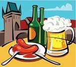 Beer - Alcohol,Czech Republic,Prague,Sausage,Food,Czech Culture,Beer Bottle,Meat,Crockery,Mug,Drink,Sauces,Glass,Bottle,Table Knife,Food And Drink,Frozen,Grilled,Cup,Dinner,Illustrations And Vector Art,Alcohol,Group of Objects,Cold - Termperature,Drinks,Fork,Alcohol,Cultures,Alcohol