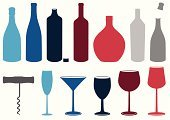 Wine,Bottle,Silhouette,Glass,Wine Bottle,Glass - Material,Champagne,Cocktail,Corkscrew,Cork,Alcohol,Vector,Drink,White,Red,Ilustration,Drinks,Alcohol,Illustrations And Vector Art,Food And Drink