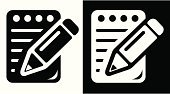 Pencil,Symbol,Computer Icon,Notebook,Note Pad,Black Color,White,Black And White,Single Object,Document,Vector,Office Interior,Design Element,Concepts,Vector Icons,Illustrations And Vector Art,Monochrome,Ilustration,Clip Art