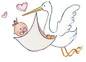 Stork,Baby,Childbirth,Baby Girls,Bird,Delivering,Pink Color,Watercolor Painting,Child,Animal,Carrying,Heart Shape,Pacifier,Animals And Pets,Lifestyle,People,Babies And Children,Bow,Human Toe,Hair Bow,Sayings,Cute,Stereotypical