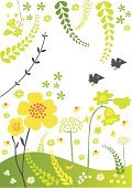 Flower,Cheerful,Bluebell,Springtime,Bird,Happiness,Vector Florals,Vector Backgrounds,Vector Ornaments,Leaf,Summer,Meadow,Illustrations And Vector Art