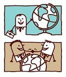 Travel,Business,Globe - Man Made Object,Earth,Characters,Friendship,Business Travel,Meeting,Bonding,Journey,Cartoon,Greeting,Serene People,Global Communications,Handshake,Businessman,Contour Drawing,Drawing - Art Product,Business,Vector Cartoons,Togetherness,Concepts And Ideas,Symbols Of Peace,Rectangle,Illustrations And Vector Art