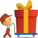 Gift,Package,Delivering,Box - Container,Large,Cart,Action,Men,Loading,Merchandise,Occupation,Human Hand,Service,Small,Cardboard,One Person,Ilustration,Colors,Heavy,Brown,Young Adult,Job - Religious Figure,Male,Image,Retail/Service Industry,Vertical,Holidays And Celebrations,Carton,Illustrations And Vector Art,Vector Cartoons,Industry