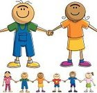 Holding Hands,Child,Reconciliation,Togetherness,Multi-Ethnic Group,Playing,Cartoon,Elementary Age,Friendship,Unity,Ilustration,Vector,Isolated On White,Cheerful
