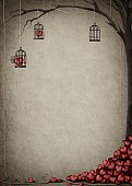 Birdcage,Heart Shape,Retro Revival,Old-fashioned,Tree,Love,Rope,Grunge,Backgrounds,Greeting Card,Poster,Valentine's Day - Holiday,Gift,Fantasy,Ilustration,Creativity,Congratulating,Computer Graphic,Painted Image,Holiday,Holidays And Celebrations,Arts Backgrounds,Arts And Entertainment,Thinking,Red,Textured Effect,Arts Symbols,Heap,Branch,Ideas,Valentine's Day,Drop