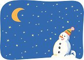 Snowman,Star - Space,Sky,Night,Moon,Blue,Snow,Vector,Half Moon,Snowdrift,Ilustration,Yellow,Winter,New Year's,Holidays And Celebrations,Christmas,Nature,Black Color,Red,White