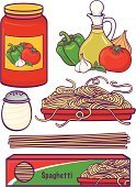 Spaghetti,Pasta,Sauces,Jar,Italian Culture,Food,Vector,Ilustration,Box - Container,Groceries,Tomato,Plate,Dinner,Olive Oil,Pepper - Vegetable,Lunch,Vegetable,Garlic,Parmesan Cheese,Cruet,Fruits And Vegetables,Grain And Cereal Products,Onion,Healthy Eating,Food And Drink