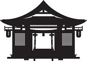 Japanese Culture,Temple - Building,House,Silhouette,Built Structure,Architecture,Black And White,Paper Lantern,Roof,Isolated,Door,Building Exterior,Monument,Lantern,Monuments,Architecture And Buildings,Illustrations And Vector Art,Ornate