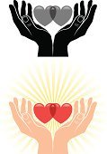 Human Hand,Hands Cupped,Heart Shape,Protection,Vector,Love,Sun,Concepts,Ideas,Inspiration,Illustrations And Vector Art,Valentine's Day - Holiday,Concepts And Ideas