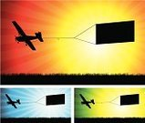 Airplane,Banner,Pulling,Sign,Towing,Vector,Air,Marketing,Commercial Sign,Sun,Silhouette,Horizon,Green Color,Travel Locations,Blue,Back Lit,Ilustration,Blank,Sunlight,Flying,Copy Space,Grass,Advertisement,Sunbeam,Red,Illustrations And Vector Art,Field,Transportation,No People
