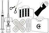 Adhesive Bandage,Suitcase,Surgical Scissors,First Aid Kit,Work Tool,Human Arm,Black Color,Clip Art,Beauty And Health,Health Symbols/Metaphors,Healthcare And Medicine,Vector,Scissors,Computer Icon,White