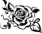 Rose - Flower,Tattoo,Black Color,White,Flower,Single Flower,Decoration,Petal,Ilustration,Remote,Plant,Ornate,Flowers,Nature Abstract,Holiday Symbols,Holidays And Celebrations,Nature,Beauty In Nature,Celebration,Elegance,Nature
