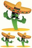 Cactus,Mexican Ethnicity,Sombrero,Cartoon,Hat,Vector,Three Objects,Characters,Thumbs Up,Sunglasses,Smiling,Green Color,Ilustration,Cheerful,Mustache,Plants,Vector Cartoons,Nature,Thorn,Showing,Human Hand,Illustrations And Vector Art