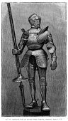 Knight,Chivalry,Medieval,Lance,Woodcut,Suit of Armor,Image Created 16th Century,Army Soldier,Engraved Image,Old,Image,Antique,German Military,Armed Forces,Illustrations And Vector Art,Obsolete,Cultures,History,Steel,Clothing,Traditional Clothing,Print,Ilustration,Etching,Greave,Warrior,The Past,Styles,Old-fashioned,Middle Ages,Concepts And Ideas,Army,Military,Spear,German Culture,Weapon,Time Period,European Culture,16th Century Style,Objects/Equipment