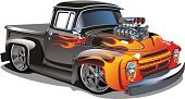 Hot Rod,Truck,Pick-up Truck,Car,Hot Rod - Film Title,Heat - Temperature,Cartoon,Flame,Engine,Old,Vector,Classic,Retro Revival,1950s Style,Obsolete,Muscle Car,Roadster,Fire - Natural Phenomenon,Old-fashioned,Black Color,Land Vehicle,Fun,Chrome,Bumper,Isolated,Mode of Transport,Transportation,Red
