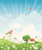 Front or Back Yard,Landscape,House,Non-Urban Scene,Meadow,Cloud - Sky,Springtime,Tree,Rural Scene,Facade,Summer,Field,Flower,Day,Sunlight,Grass,Sky,Green Color,Butterfly - Insect,Backgrounds,Plain,Morning,Freshness,Beauty In Nature,Blue,Scenics,Sunbeam,Outdoors,Weather,Plant,Nature,Climate,Idyllic,Daisy,Tranquil Scene,Pasture,Clear Sky,Nature Backgrounds,Yellow,Uncultivated,Summer,Land,Landscapes,Nature