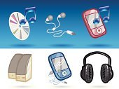 Speaker,Mobile Phone,Icon Set,Headphones,Music,Computer Icon,Hands-free Device,Business Symbols/Metaphors,Digital Device,Illustrations And Vector Art,CD,Electrical Equipment,Musical Note,Business