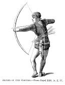 Archery,Longbow,Bow,Old-fashioned,Arrow,Woodcut,Medieval,Antique,Weapon,Ilustration,Bow and Arrow,Engraved Image,Middle Ages,Army,Circa 15th Century,Print,Hundred Years War,Quiver Tree,Styles,Military,Period Costume,The Past,Historical War Event,Old,Traditional Clothing,Clothing,Illustrations And Vector Art,Army Soldier,Historical Clothing,Warrior,People,History,Illustration Technique,Time Period,Armed Forces,Image