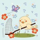 Animal,Cute,Butterfly - Insect,Cartoon,Bird,Catching,Netting,Flower,Animals Hunting,Dandelion,Insect,Hunting,Vector,Ilustration,Insects,Illustrations And Vector Art,Birds,Daisy,Pollen,Animals And Pets