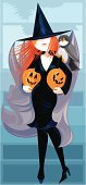 Halloween,Witch,Owl,jack-o-lantern,Witch's Hat,People,Holidays And Celebrations,Halloween,Birds,Animals And Pets,Veil,Cleavage,High Heels,Pumpkin,Orange Color,Black Color