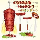 Kebab,Barbecue Grill,Barbecue,Skewer,Souvlaki,Chicken,Food,Meat,Steak,Tongs,Middle Eastern Food,Grilled,Beef,Fork,Vector,Salad,Sausage,Icon Set,Fire - Natural Phenomenon,Kitchen Utensil,Pork,Bratwurst,Ilustration,Roasted,Chop,Cut of Meat,Hot Dog,Plate,Flame,Fillet,Clip Art,Outdoors,Spoon,Food State,Vegetable,Meat And Alternatives,Food And Drink,Illustrations And Vector Art,Hamburger