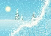 Snowing,Winter,Christmas,Frost,Window,Landscape,Snow,Angle,Sun,Natural Pattern,Pattern,Scenics,Crystal,Ice Crystal,Field,Ice,Frozen,Horizontal,Fir Tree,Ilustration,Christmas Tree,Sunlight,Landscapes,Illustrations And Vector Art,Vector,Nature,Nature,Looking Through Window,Design Element,Winter,Snowflake,Tranquil Scene,Blue,Copy Space,Season,Backgrounds