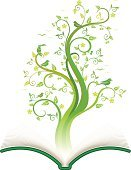 Tree,Book,Wisdom,Education,Growth,Abstract,Bird,Plant,Ideas,Green Color,Flower,Vector,Concepts,Ilustration,Single Flower,Nature,Leaf,Illustrations And Vector Art,Concepts And Ideas