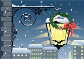 Christmas,Snow,Town,Winter,House,City,Lantern,Roof,Window,Holiday,Street,Wreath,Vector,Cityscape,Lighting Equipment,Silhouette,Wall,Built Structure,Ilustration,Decoration,Snowing,Spirituality,Circle,Pine Cone,Panoramic,Berry,Architecture And Buildings,Holidays And Celebrations,Christmas,Illustrations And Vector Art,Ribbon,Brick,Berry Fruit,Season,Bow