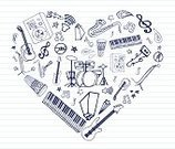 Doodle,Music,Sketch,Musical Instrument,Heart Shape,Audio Cassette,Guitar,Notebook,Piano Key,Drum Kit,Saxophone,Love,Pencil,Trumpet,Microphone,Drawing - Art Product,Variation,Note Pad,Lined Paper,Cow Bell,Choice,CD,Pen And Ink,Speaker,hand drawn,Vector Icons,Electric Piano,Illustrations And Vector Art,Brass Instrument,Arts And Entertainment,Music,Vector Cartoons