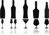 Bottle,Champagne,Silhouette,Glass,Beer Bottle,Cocktail,Black Color,Alcohol,Martini,Vector,Shape,White,Shadow,Drink,Ilustration,Drinks,Household Objects/Equipment,Alcohol,Reflection,Food And Drink,Objects/Equipment