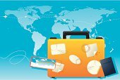 Luggage,Airplane Ticket,Passport,Tourism,Suitcase,Travel,Rubber Stamp,Label,World Map,Journey,Empty,Vector,Air Travel,Travel Backgrounds,Holidays,Ilustration,Copy Space,Vacations,Travel Locations