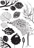 Leaf,Branch,Tree,Root,Autumn,Silhouette,Textured,Grunge,Ilustration,Vector,Plant,Nature,Black Color,Design Element,No People,Season,Set,Fall,Vector Florals,Plants,Variation,Isolated On White,dead leaf,Illustrations And Vector Art,Nature