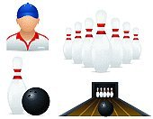 Bowling,Bowling Alley,Vector,Ten Pin Bowling,Bowling Pin,Leisure Games,Shiny,In A Row,Competition,Striped,Computer Icon,Rolling,Illustrations And Vector Art,Isolated Objects,Arts And Entertainment,Sports Equipment,Symbol,Sport