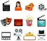 Movie Theater,Movie,Theatrical Performance,Ticket,Entertainment,Computer Icon,Movie Ticket,Popcorn,Icon Set,Movie Camera,Video,Performance,Director's Chair,Multimedia,Isolated Objects,Illustrations And Vector Art,Arts And Entertainment